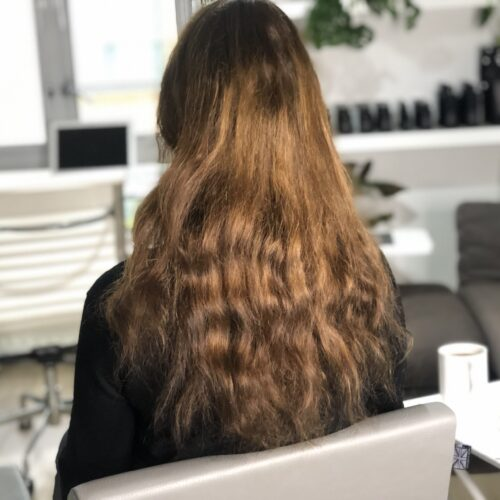 Brown hair extensions before and after
